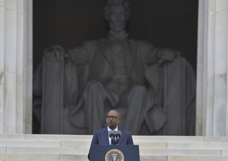 US actor Forest Whitaker speaks during the Let Freedom Ring Commemoration and Call to Action to commemorate the 50th anniversary of the March on Washington for Jobs and Freedom at the Lincoln Memorial in Washington, DC on August 28, 2013. (Jewel Samad/Getty Images)