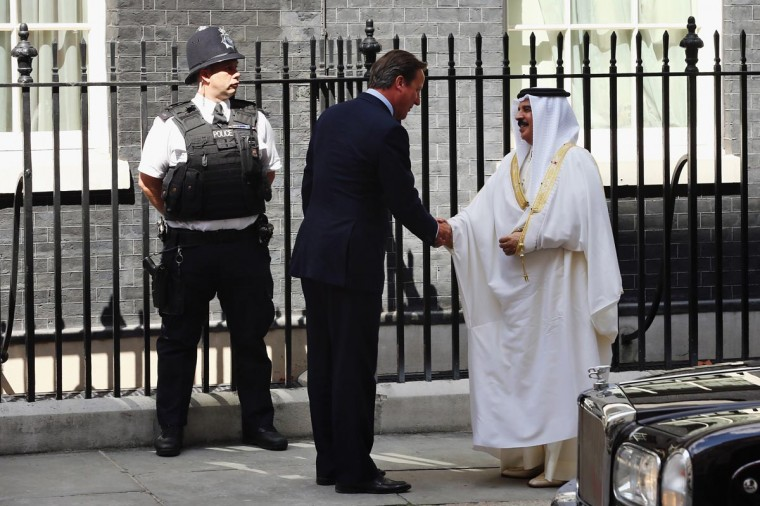 British Prime Minister David Cameron greets King Hamad bin Isa Al Khalifa of Bahrain (R) outside 10 Downing Street on August 6, 2013 in London, England. Mr Cameron is likely to address issues of human rights during the meeting. (Dan Kitwood/Getty Images)