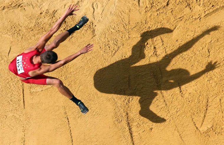 Gunnar Nixon of the United States competes in the Men's Decathlon Long Jump during Day One of the 14th IAAF World Athletics Championships Moscow 2013 at Luzhniki Stadium on August 10, 2013 in Moscow, Russia. (Jamie Squire/Getty Images)