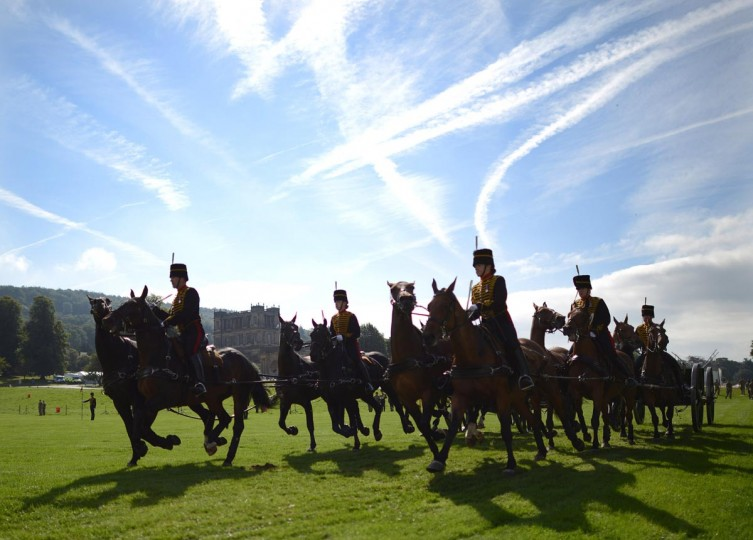 The King's Troop of Royal Horse Artillery during preparations for their performance at The Country Fair at Chatsworth House on August 29, 2013 in Chatsworth, Derbyshire, England. The show runs from August 30th to September 1st where the troop will perform twice a day. (Nigel Roddis/Getty Images)