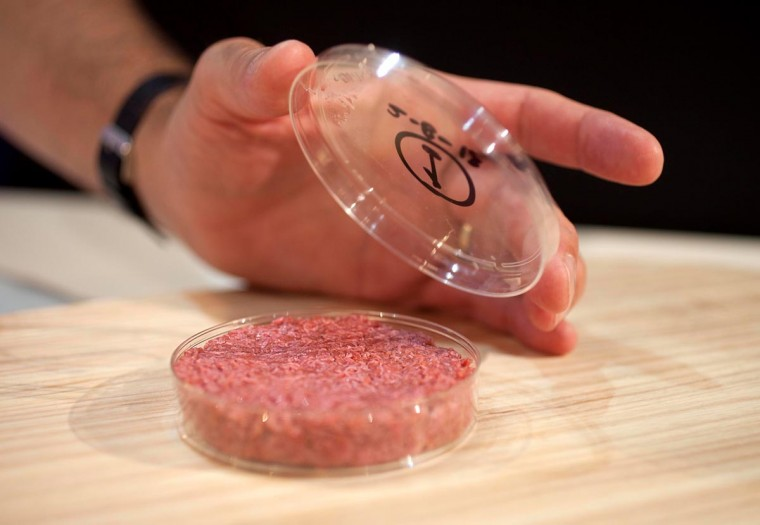 In this handout picture received via Ogilvy PR, Professor from Maastricht University Mark Post holds the world's first lab-grown beef burger as Professor Mark Post of Maastricht University (R) speaks to him in London on August 5, 2013. (David Parry via AFP/Getty Images)