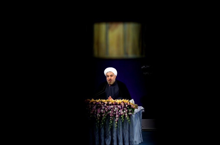 "Iran's President Hasan Rowhani addresses his first news conference since taking office, in Tehran, on August 6, 2013. Rowhani said that Iran was ready for ""serious"" talks on its nuclear program without delay and that US calls for tougher sanctions showed a lack of understanding. (Atta Kenare/AFP/Getty Images)"