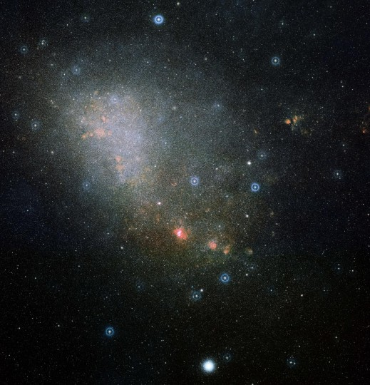 This handout released by ESA/Hubble on August 8, 2013, shows a two-color image and overview of the full Small Magellanic Cloud (SMC), composed from two images from the Digitized Sky Survey 2. (Hubble HO viaAFP/Getty Images)