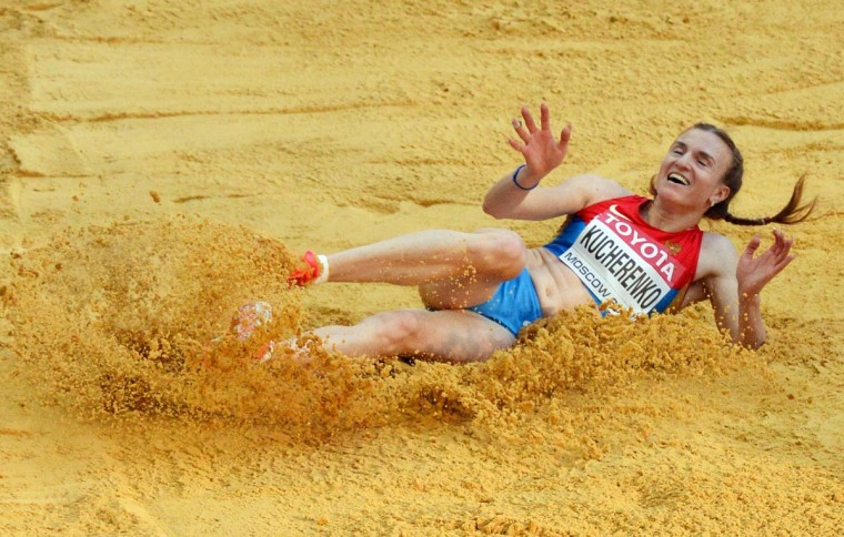 Olga Kucherenko of Russia competes the women's long jump event at the 2013 IAAF World Championships at the Luzhniki stadium in Moscow on August 10, 2013. (Antonin Thuillier/AFP/Getty Images)