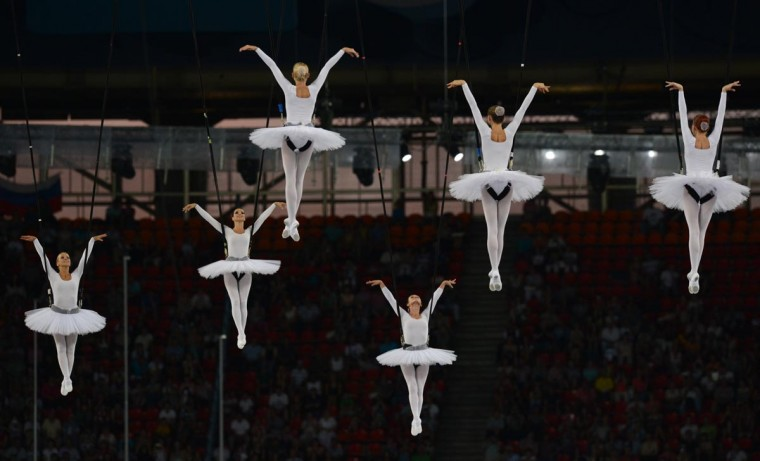Performers take part in the opening ceremony of the 2013 IAAF World Championships at the Luzhniki stadium in Moscow on August 10, 2013. (Kirill Kudryavtsev/AFP/Getty Images)