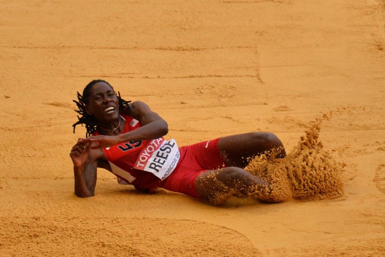 Brittney Reese of the United States jumps to victory during the women's long jump final at the 2013 IAAF World Championships at the Luzhniki stadium in Moscow on August 11, 2013. (Antonin Thuillier/AFP/Getty Images)