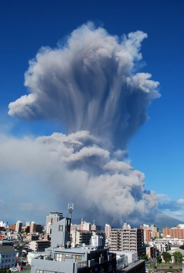 This handout picture taken by Kagoshima Local Meteorological Observatory on August 18 and released by Japan Meteorological Agency on August 19, 2013 shows smoke rising from the 1,117-meter Mount Sakurajima at Kagoshima city in Japan's southern island of Kyushu. The volcano erupted an ash plume up to 5,000 meters into the air. It was the 500th eruption this year of Sakurajima, which is about 950 kilometers southwest of Tokyo. (AFP/Getty Images)