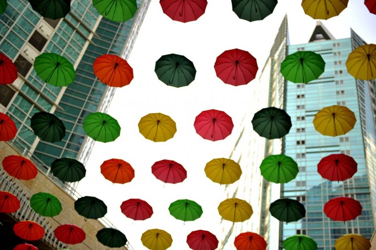 Umbrellas are displayed in an installation at a mall in Seoul on August 26, 2013. South Korea's jobless rate was unchanged at 3.2 percent in July, Statistics Korea said on August 14, after new employment openings in education and social services offset losses in the manufacturing sector. (Lee M. Truth/AFP)