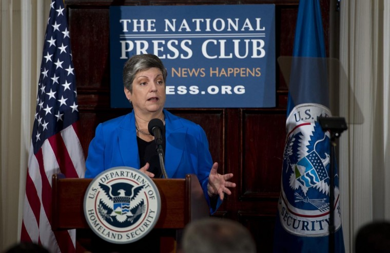 U.S. Secretary of Homeland Security Janet Napolitano gives her farewell speech at the National Press Club in Washington, DC on August 27, 2013. Napolitano will be leaving the administration to become chancellor of the University of California in September. (Saul Loeb/AFP/Getty Images)
