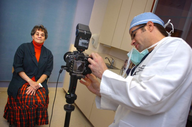 Throughout the nose reconstruction process, Dr. Patrick Byrne and his staff photographically document the steps in rebuilding Linda Hershey's nose. (Algerina Perna/Baltimore Sun/Oct. 22, 2008)