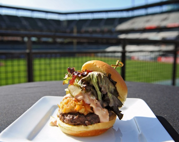 While you're eating: Pictured is the Camden Giant from Gino's, a vendor at Oriole Park at Camden Yards. (Kenneth K. Lam/Baltimore Sun Photo)