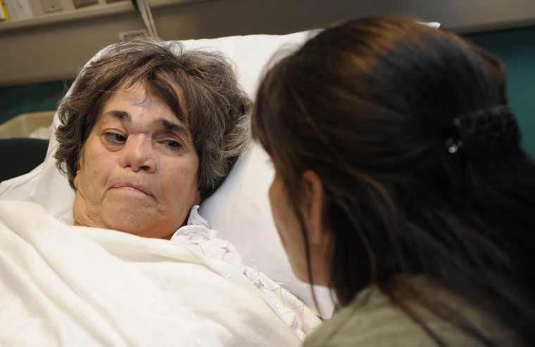 Tami Layman, right, waits with her mother, Linda Hershey, 65, before surgery to have cadaver rib placed inside her nose. (Algerina Perna/Baltimore Sun/Sept. 28, 2010)