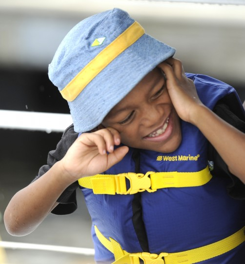 Devonte Evans, 7, is a student from the William S. Baer School in Baltimore. He and several other students enjoyed a ride aboard the skipjack Sigsbee, which is part of the Living Classrooms Foundation. (Barbara Haddock Taylor/Baltimore Sun)