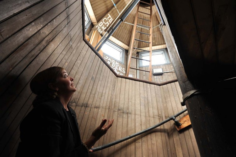 Elaine Rice Bachmann, director of Artistic Property & Public Outreach, looks up the stairwell inside the dome above the Maryland State House. The dome has 140 wooden steps. Algerina Perna/Baltimore Sun