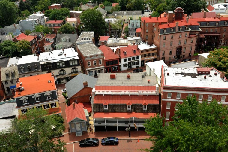 """The buildings on State Circle and Main Street are visible from the bird's eye view at the top of the Maryland State House. """"It's just a gorgeous view,"""" said Sam Cook, director of the Annapolis Public Buildings and Grounds Division with the Department of General Services. Algerina Perna/Baltimore Sun"""