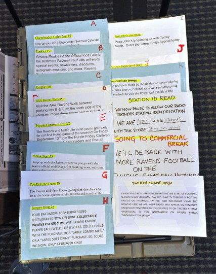 A close-up of ordered cards with promotional spots that are read during the broadcast. (Amy Davis/Baltimore Sun Photo)