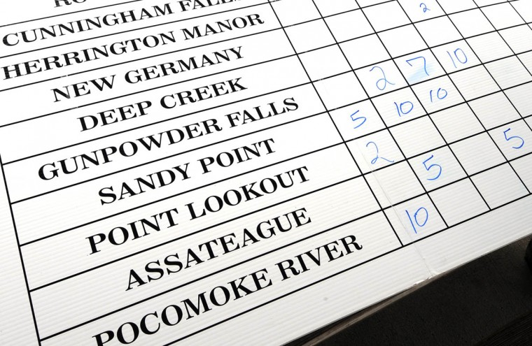 A scoreboard lists the State Parks in the competition. (Algerina Perna/Baltimore Sun)