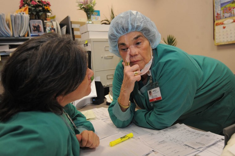 "Linda Hershey, right, a nurse at Lancaster Regional Medical Center, chats with Josephine ""Josie"" Petri, RN, operating room manager, about the stent inserted during an eye surgery on April 12, 2013 to correct a tear duct problem. (Algerina Perna/Baltimore Sun/June 6, 2013)"