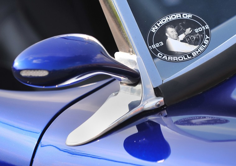A nod to the legendary car builder, Carroll Shelby, is displayed in decal form on the windshield of FII's 427 Roadster. (Gene Sweeney, Jr./Baltimore Sun)