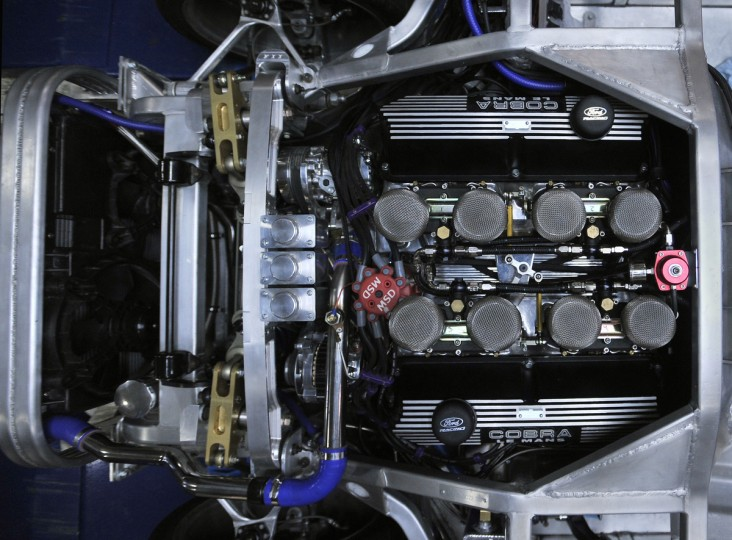 A 427 CID engine is shown shoehorned into the aluminum frame of the 427 Roadster. The car was assembled in Crofton, but cannot be sold with an engine due to Md. laws. However, Wingard can offer advice on where to purchase one of three 427 CI displacement engines. This particular engine can propel the car to over 200 miles per hour. (Gene Sweeney, Jr./Baltimore Sun)