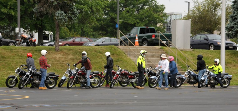 Riders line up their bikes for another riding drill after they take a short break. (Algerina Perna/Baltimore Sun)