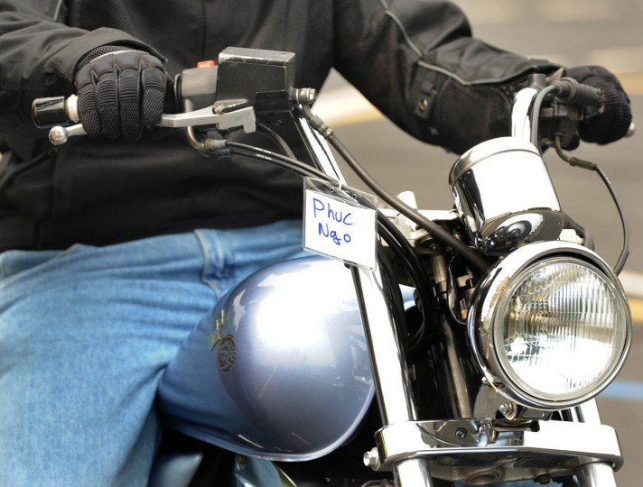 A tag with the rider's name hangs from the motorcycle during class. (Algerina Perna/Baltimore Sun)
