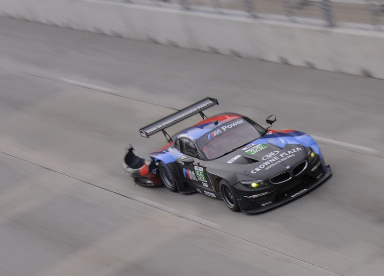 The No. 55 car pulls its rear bumper down the straightaway during the ALMS Series Race. (Karl Merton Ferron / Baltimore Sun Staff)