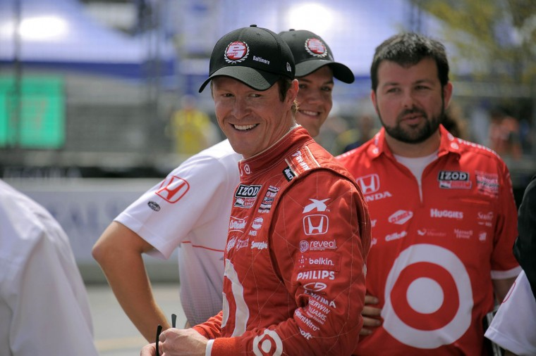 Scott Dixon celebrates getting the pole position for the IZOD IndyCar Series race during the 2013 Grand Prix of Baltimore. (Karl Merton Ferron/Baltimore Sun Staff)