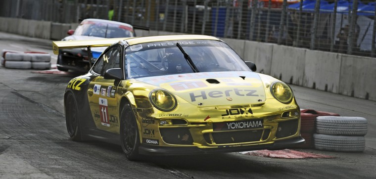 The Hedlind/Heylen Porsche 911 GT3 Cup car gets airborne after going over a chicane during qualifying run for the Grand Prix of Baltimore ALMS GTC race. (Kenneth K. Lam/Baltimore Sun)