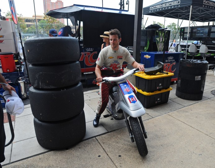 Indycar driver Marco Andretti leaves the pit lane after a practice session for the Grand Prix of Baltimore. (Kenneth K. Lam/Baltimore Sun)