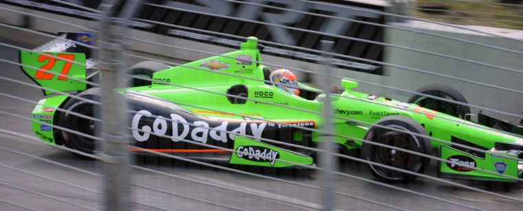 The #27 Go Daddy Indycar driven by James Hinchcliffe during a practice session of the Grand Prix of Baltimore. (Kenneth K. Lam/Baltimore Sun)