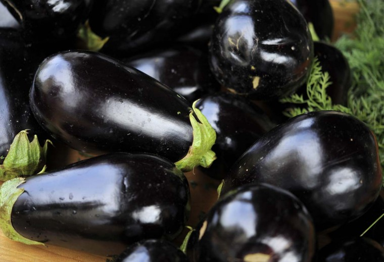 A close-up shot of eggplant Orioles chef Jenny Perez purchased during a recent visit to a farmers' market in Hydes. (Lloyd Fox/Baltimore Sun Photo)