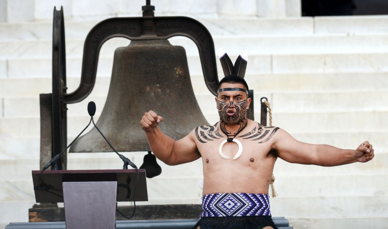 """Dancers from Destiny Church, New Zealand, perform a traditional Maori Haka during the """"Let Freedom Ring"""" ceremony to commemorate the 50th anniversary of the March on Washington for Jobs and Freedom at the Lincoln Memorial on the National Mall on August 28, 2013 in Washington, DC. (Olivier Douliery/Abaca Press/MCT)"""