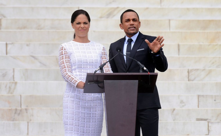 "Soledad O'Brien and Hill Harper deliver remarks at the ""Let Freedom Ring"" ceremony to commemorate the 50th anniversary of the March on Washington for Jobs and Freedom at the Lincoln Memorial on the National Mall on August 28, 2013 in Washington, DC. (Olivier Douliery/Abaca Press/MCT)"