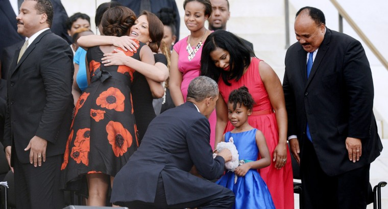"""President Barack Obama talks to Yolanda King, the daugher of Martin Luther King III during the """"Let Freedom Ring"""" ceremony to commemorate the 50th anniversary of the March on Washington for Jobs and Freedom at the Lincoln Memorial on the National Mall on August 28, 2013 in Washington, D.C. (Olivier Douliery/Abaca Press/MCT)"""