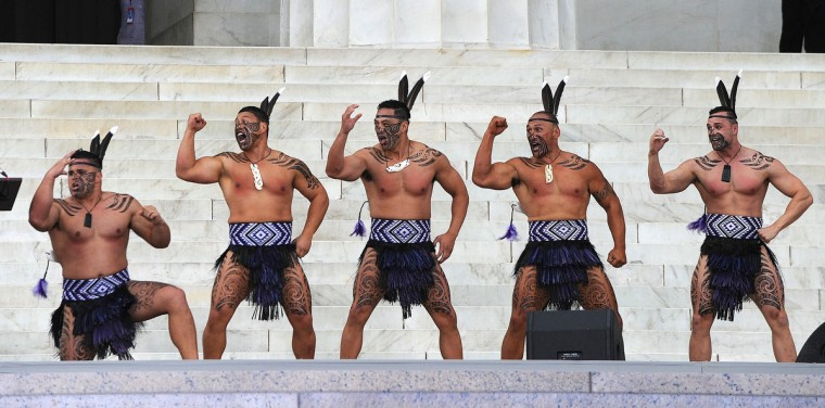 "Dancers from Destiny Church, New Zealand, perform a traditional Maori Haka during the ""Let Freedom Ring"" ceremony to commemorate the 50th anniversary of the March on Washington for Jobs and Freedom at the Lincoln Memorial on the National Mall on August 28, 2013 in Washington, DC. (Olivier Douliery/Abaca Press/MCT)"