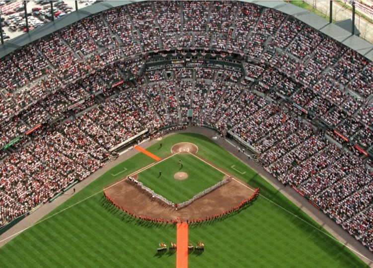 From the air: An aerial view of Oriole Park at Camden Yards during Opening Day festivities on March 31, 1998. (Doug Kapustin/Baltimore Sun Photo)