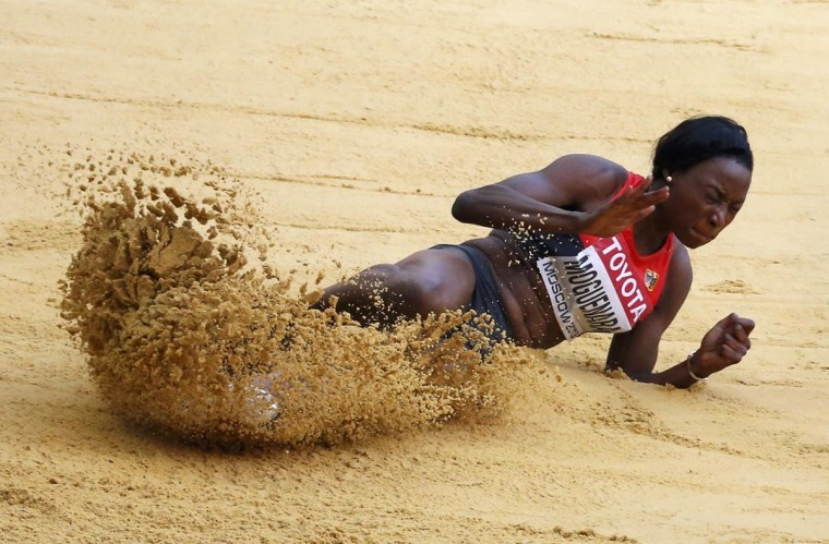 Sostene Moguenara of Germany competes in the women's long jump final during the IAAF World Athletics Championships at the Luzhniki stadium in Moscow August 11, 2013. (Maxim Shemetov/Reuters)