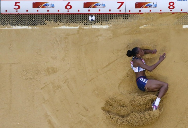 Shara Proctor of Britain competes during the women's long jump final at the IAAF World Athletics Championships at the Luzhniki stadium in Moscow August 11, 2013. (Pawel Kopczynski/Reuters)