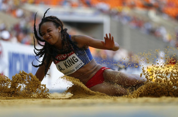 Arantxa King of Bermuda competes in the women's long jump qualification at the IAAF World Athletics Championships at the Luzhniki stadium in Moscow August 10, 2013. (Dominic Ebenbichler/Reuters)