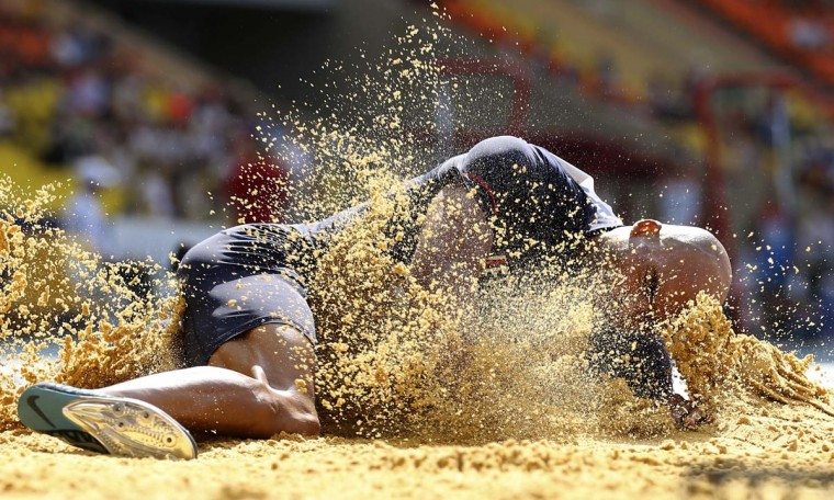Gael Querin of France competes in the men's decathlon long jump event at the IAAF World Athletics Championships at the Luzhniki stadium in Moscow August 10, 2013. (Dominic Ebenbichler/Reuters)