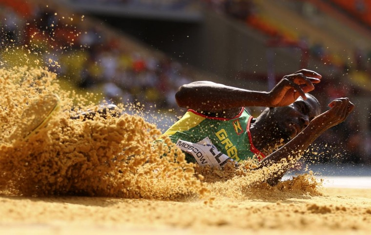 Kurt Felix of Greneda competes in the men's decathlon long jump event at the IAAF World Athletics Championships at the Luzhniki stadium in Moscow August 10, 2013. (Dominic Ebenbichler/Reuters)