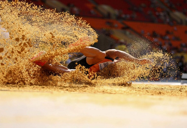 Eelco Sintnicolaas of the Netherlands competes in the men's decathlon long jump event at the IAAF World Athletics Championships at the Luzhniki stadium in Moscow August 10, 2013. (Dominic Ebenbichler/Reuters)