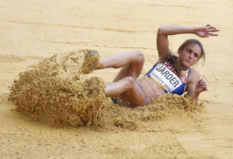 Erica Jarder of Sweden competes in the women's long jump final during the IAAF World Athletics Championships at the Luzhniki stadium in Moscow August 11, 2013. (Maxim Shemetov/Reuters)