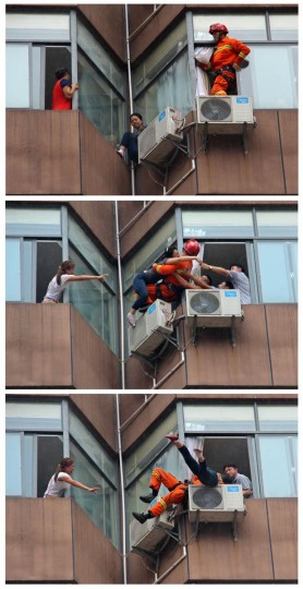 A combination picture (top-bottom) shows a fire-fighter rescuing a woman who tried to commit suicide from a window of a hotel in Tongren, Guizhou province August 19, 2013. According to local media, the woman made the suicide attempt due to relationship problems, and was sent to hospital for treatment after being rescued from the seventh floor of the hotel. (China Daily/Reuters)