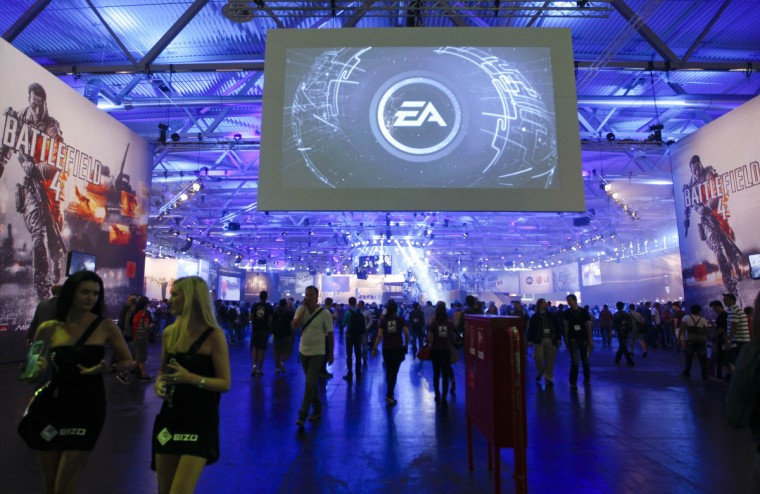 An overview shows the Electronic Arts EA exhibition stand during the Gamescom 2013 fair in Cologne. (Ina Fassbender/Reuters)