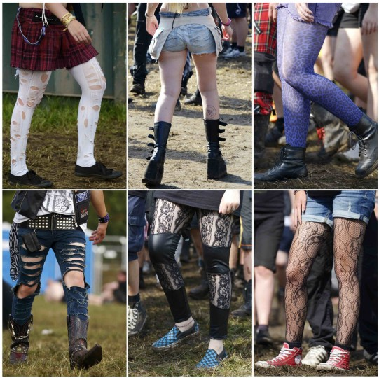 A combination photo shows the stockings and shoes of women who are on their way to the 24th Wacken Open Air Festival 2013 in Wacken. (Fabian Bimmer/Reuters)