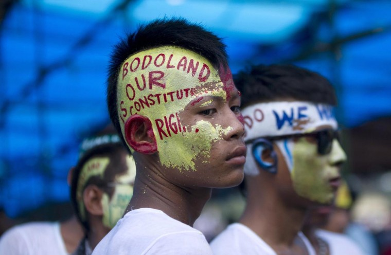 Supporters of Bodoland People's Front (BPF) attend a rally at Kokrajhar in the northeastern Indian state of Assam August 4, 2013. Thousands on Sunday held a rally to protest against the Indian government in their demand for a separate Bodoland state carved out of Assam, BPF supporters said. (Stringer/Reuters)