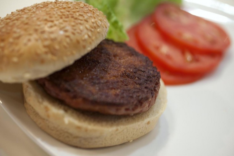 The world's first lab-grown beef burger is seen after it was cooked at a launch event in west London August 5, 2013. (David Parry/Reuters)