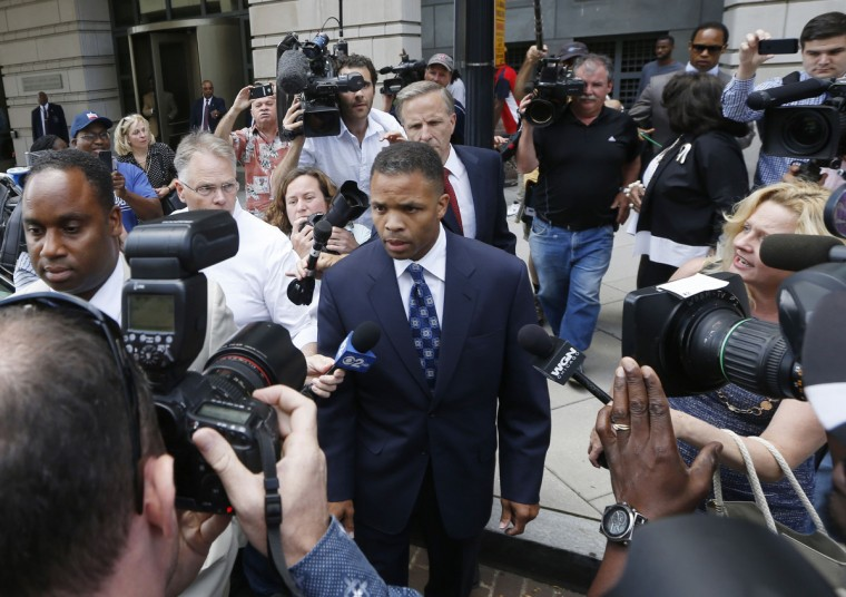 Former Illinois congressman Jesse Jackson Jr. leaves his sentencing hearing in Washington. Jackson, the son of civil rights leader the Rev. Jesse Jackson Sr. and once one of the most promising black politicians in the United States, was sentenced on Wednesday to 2-1/2 years in prison for misuse of campaign funds. (Jason Reed/Reuters)